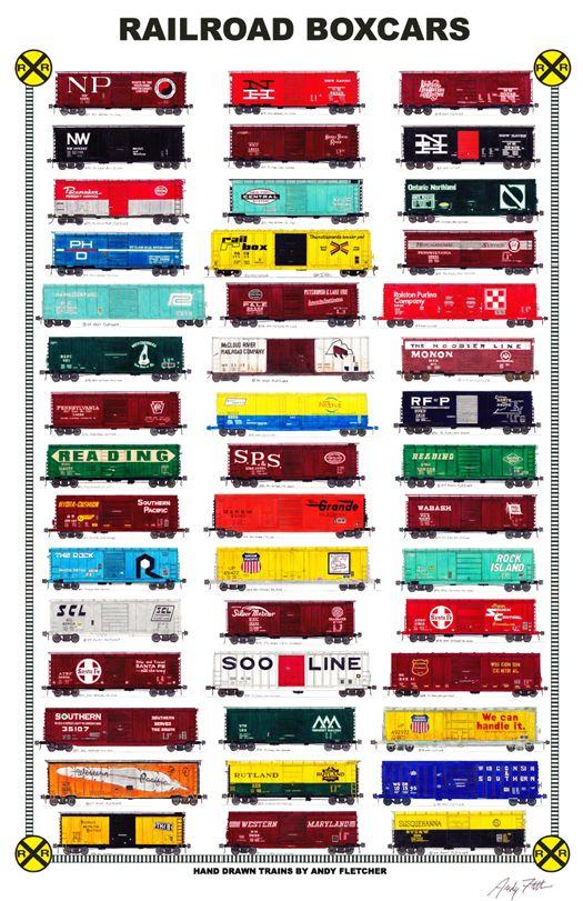 Drawn railroad red Andy Fletcher's drawings Trains railroad