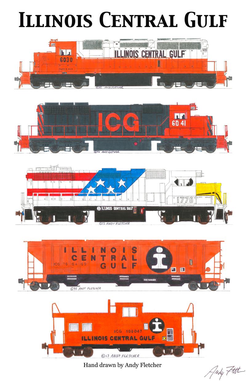 Drawn railroad red Drawings by Fletcher Gulf hand