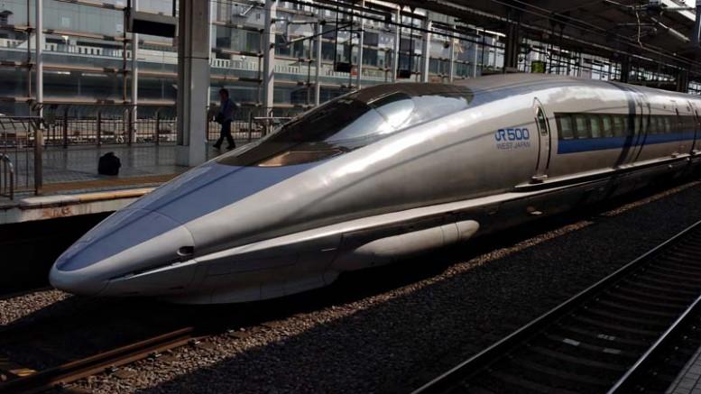 Drawn railroad shinkansen Train very board fast very