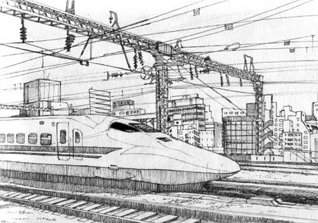 Drawn railroad shinkansen By Shinkansen 6 15 shinkansen