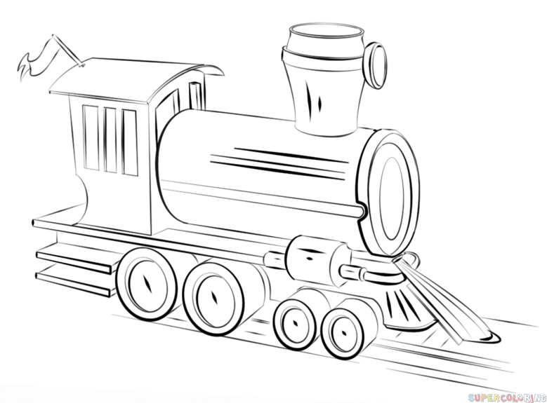 Drawn railroad simple To steam to How train