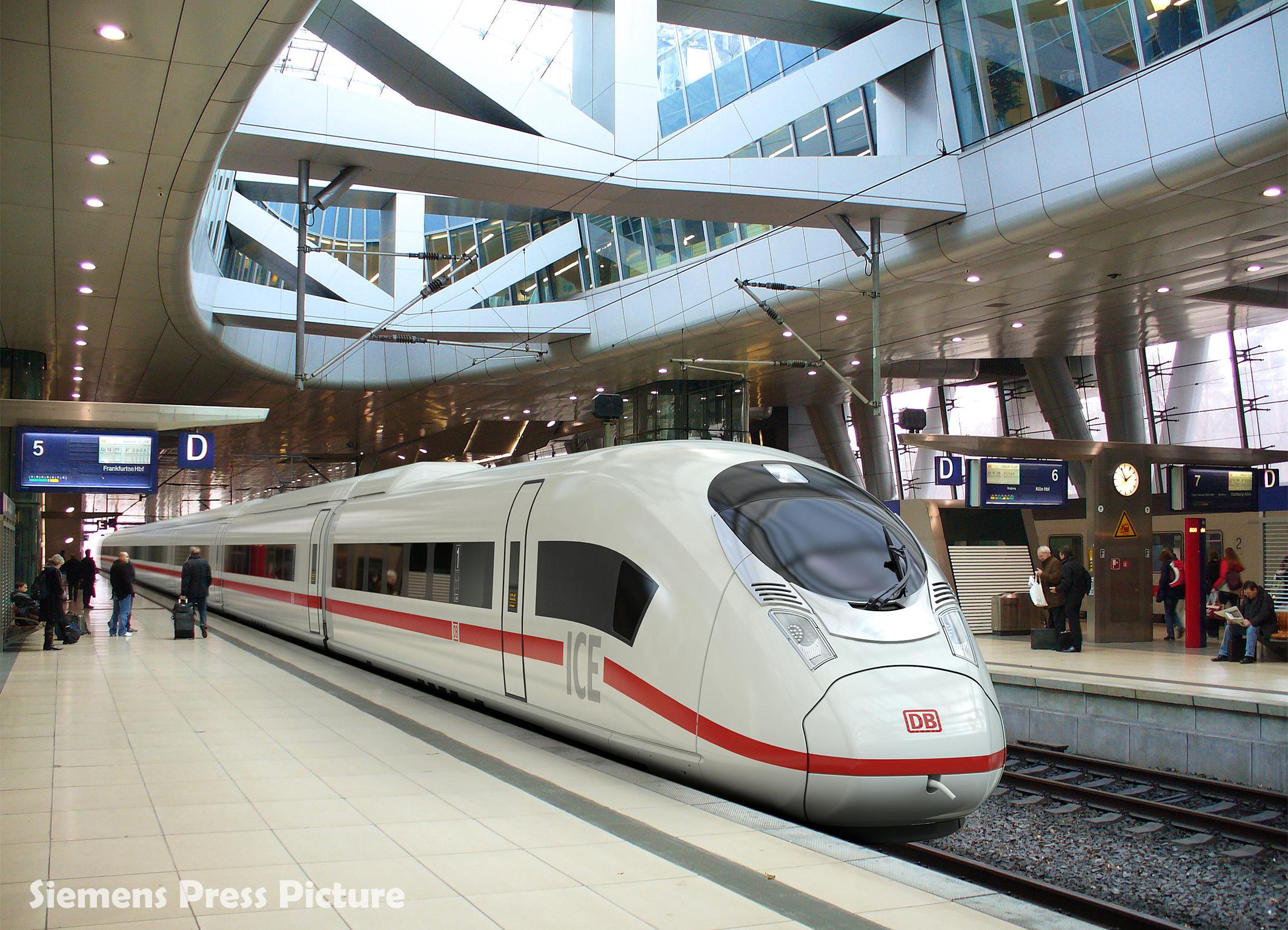 Drawn railroad speed train The Velaro Super D DB