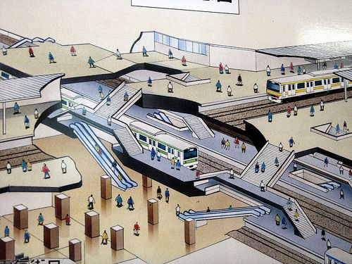Drawn railroad subway Away (Cut rail Axonometric) Pinterest