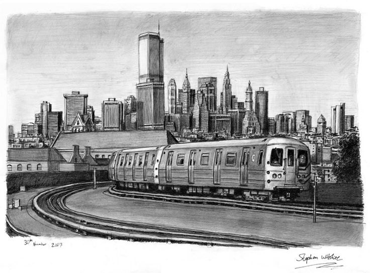 Drawn railroad subway Train drawings Original Train prints