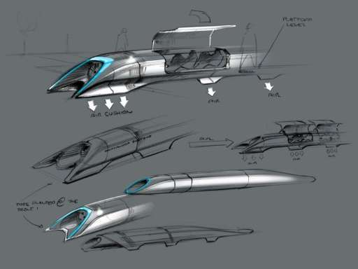 Drawn railroad superfast Rail by Hyperloop of design