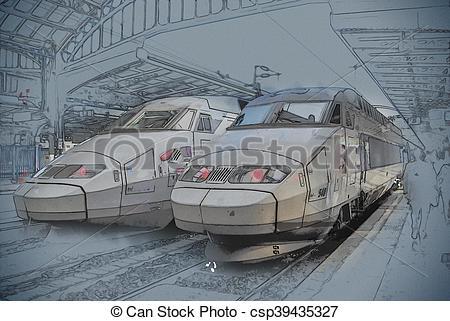 Drawn railroad tgv train TGV train of Art Clip