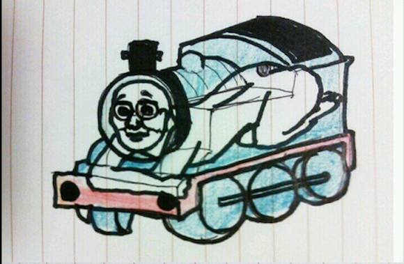 Drawn train japanese Thomas with creepy Engine ruins