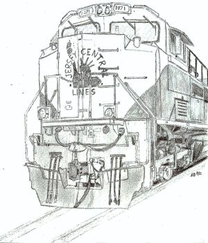 Drawn railroad tractor  Tractor CNJ 1071 by