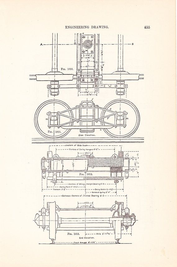 Drawn train technical drawing 79 Whiteprints and Framing Technical