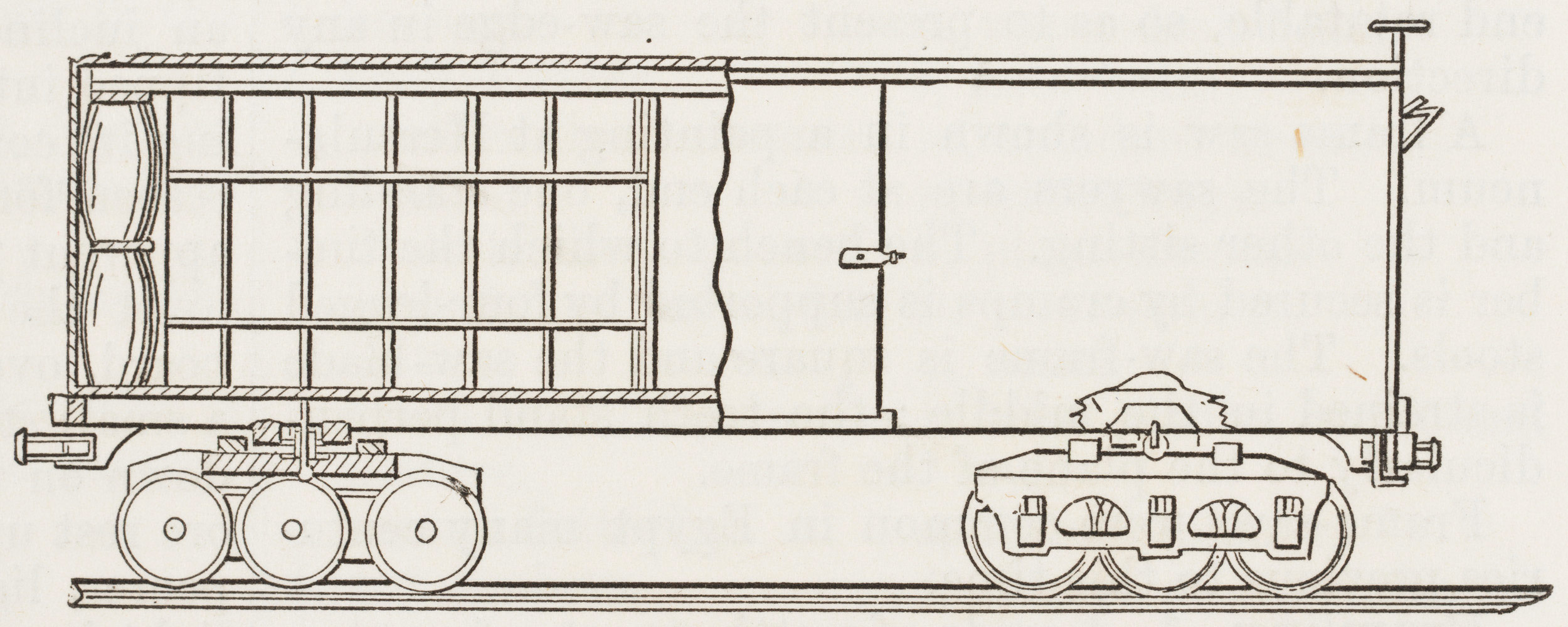 Drawn railroad train car Of carriage used Transcontinental merchandise