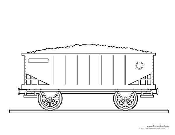 Drawn railroad train car Coloring Car Page Page