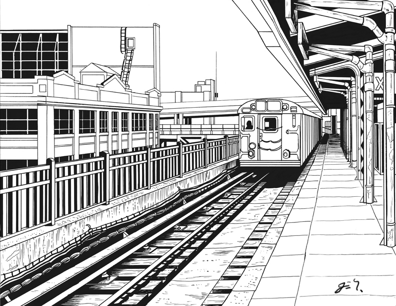 Drawn railroad train station Reverse jpg Station Filename: Train
