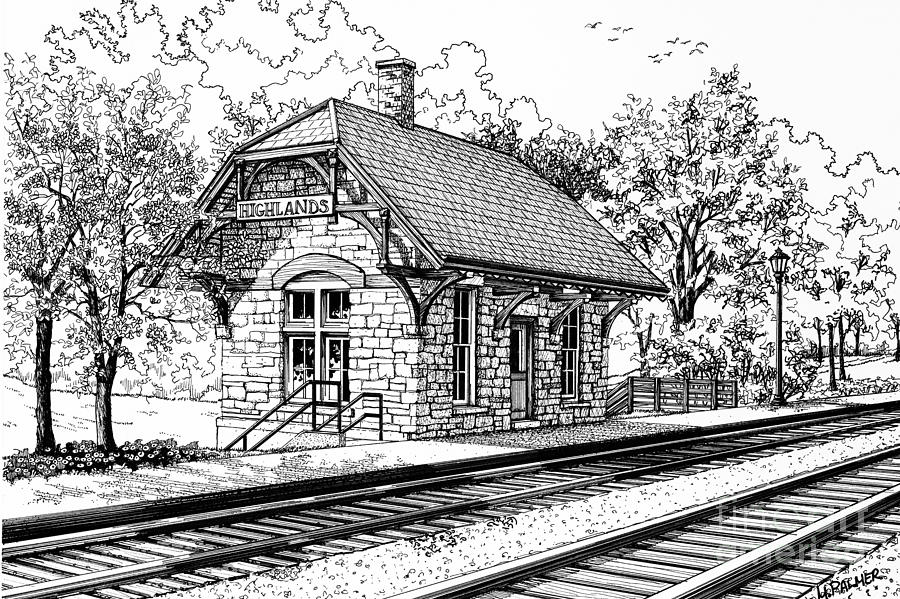 Drawn railroad train station Highlands Train Station by Train