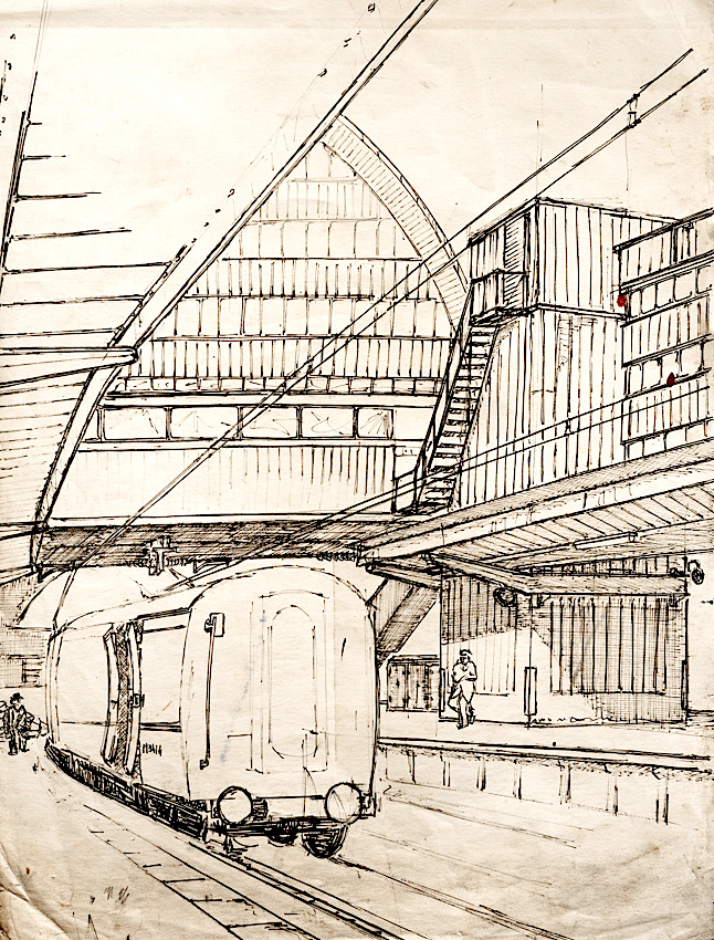 Drawn railroad train station Drawing 1 Reverse jpg Filename: