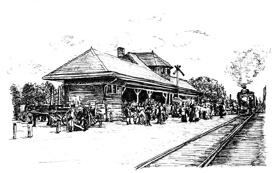 Drawn railroad train station Station Station by Monica Trains