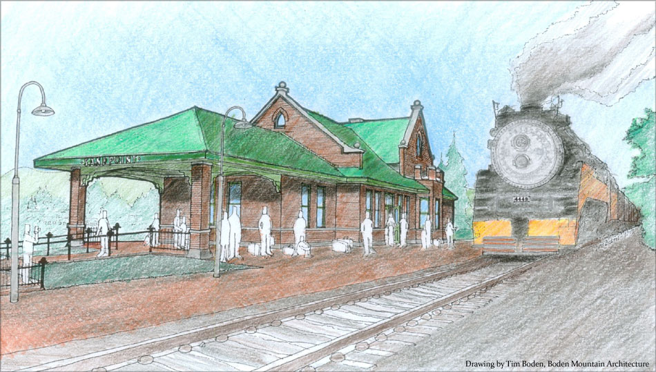 Drawn railroad train station This image Boden a