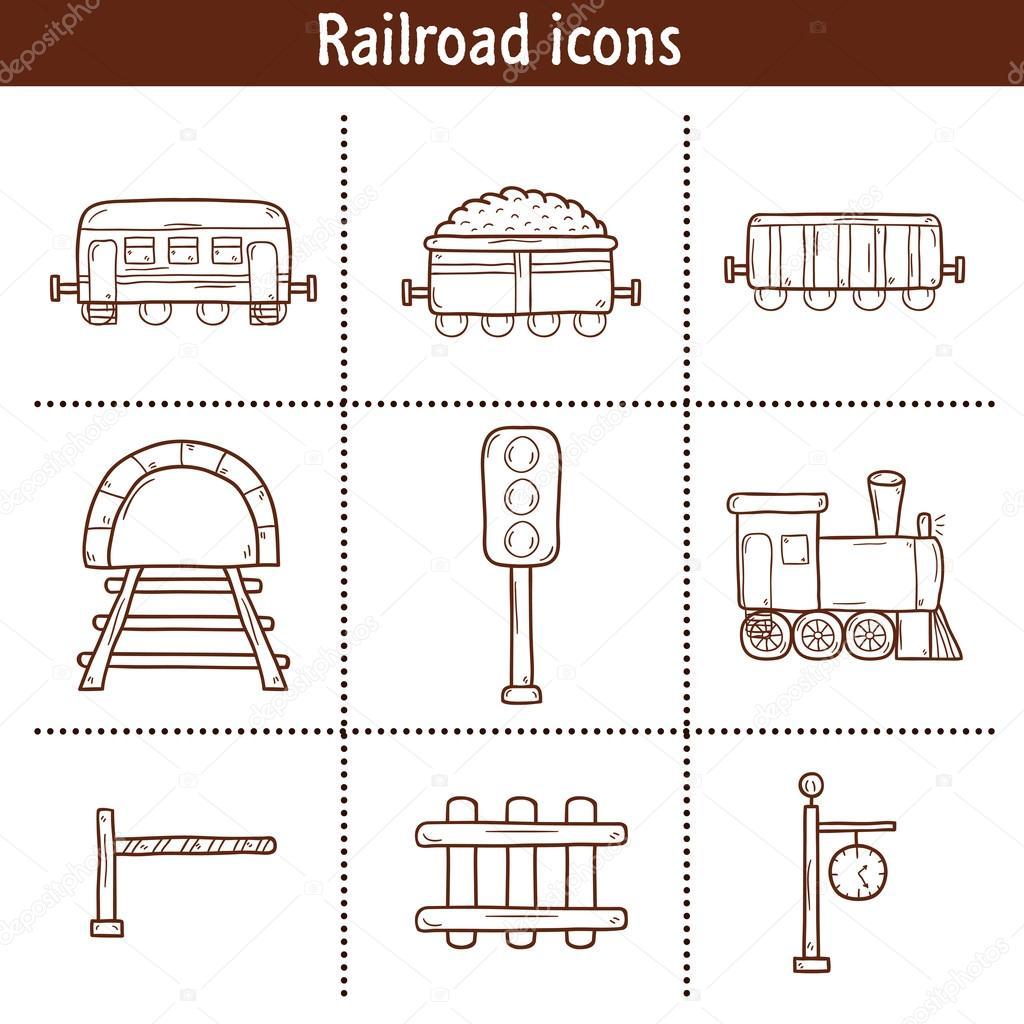 Drawn railroad transportation Set railway railway semaphore wagons