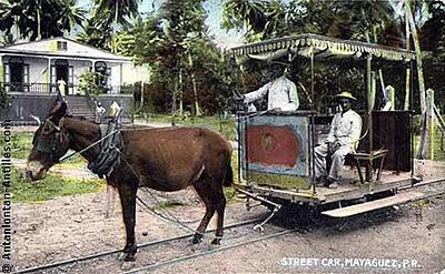 Drawn railroad transportation Puerto Mayagüez in Early Puerto