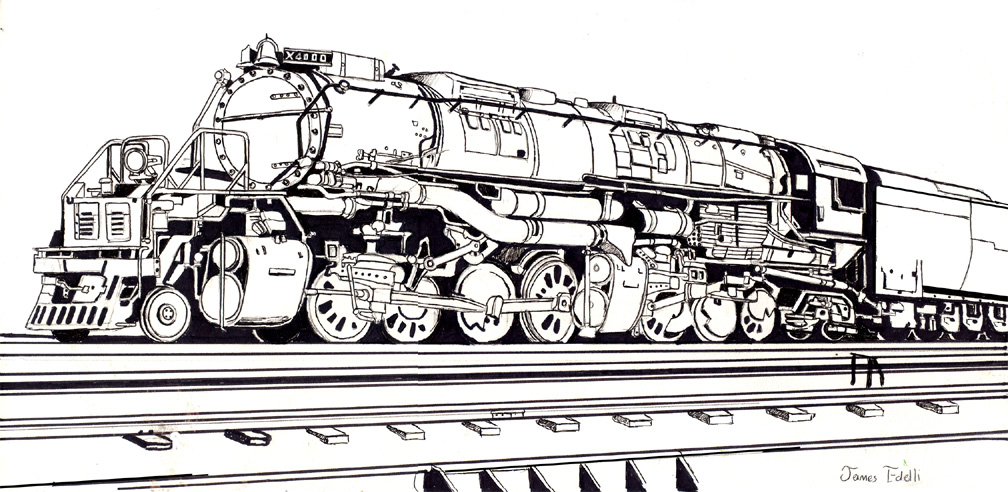 Drawn railroad union pacific train Challenger Union Prowler974 on by