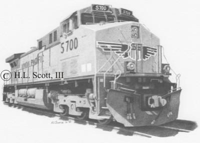 Drawn railroad union pacific train Art Union prints Pacific 5700art