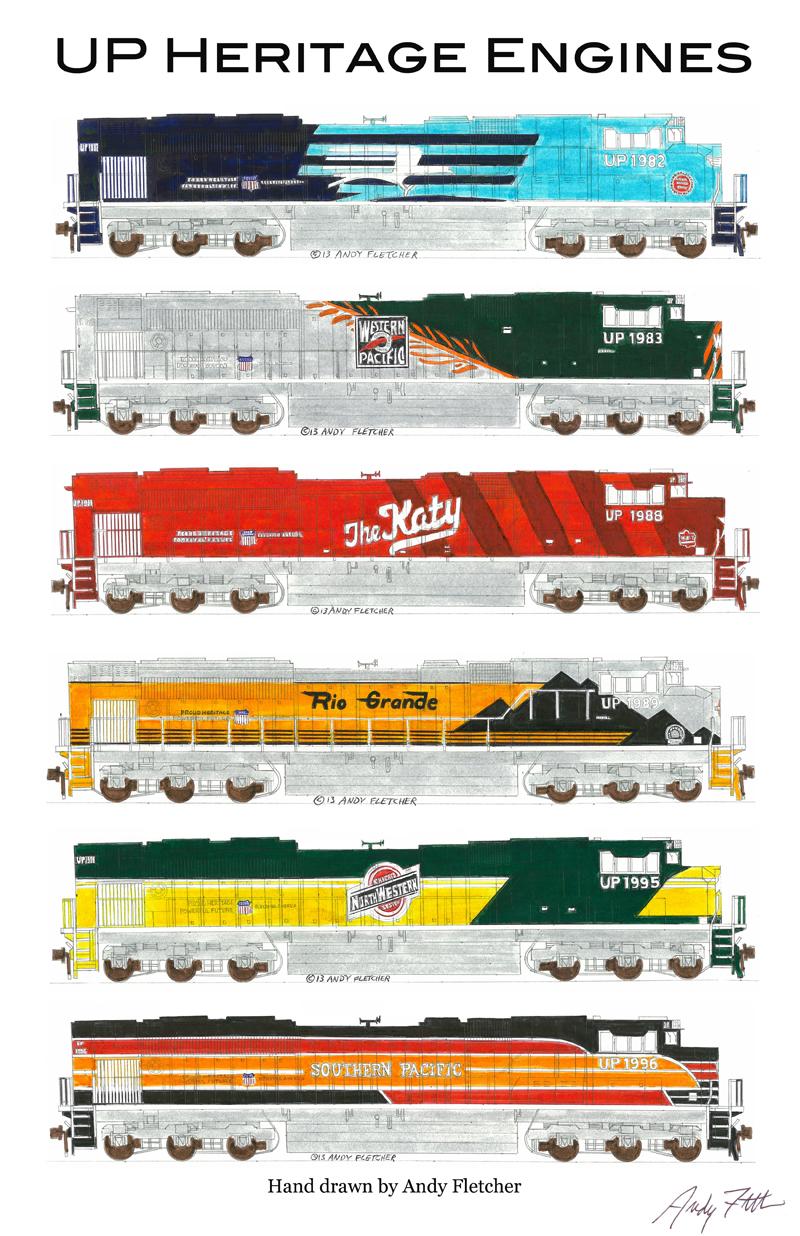 Drawn railroad union pacific train 6 Pacific hand RailroadTrain by