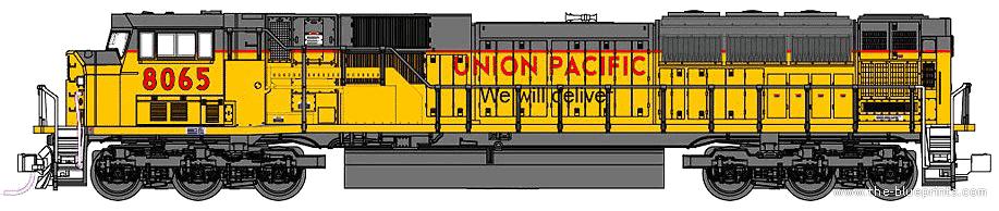 Drawn railroad union pacific train SD90 43 > Blueprints S
