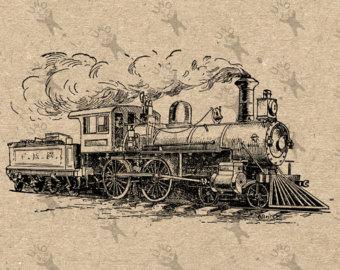 Drawn railroad vintage train Instant Vintage Digital Black Steam