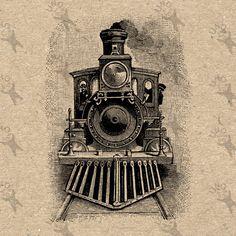 Drawn railroad vintage train Instant Vintage Digital Antique Black