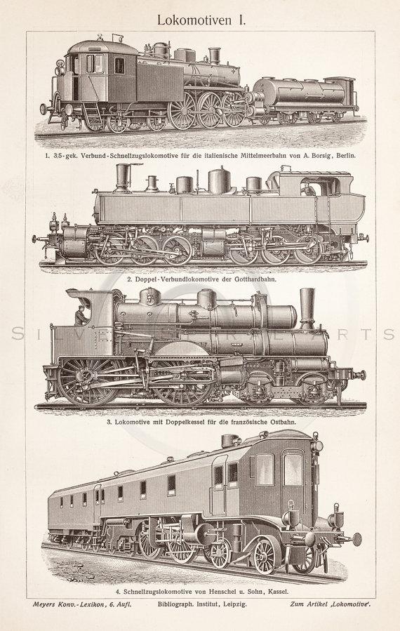 Drawn railroad vintage train Antique Vintage Digital Clip 1800s
