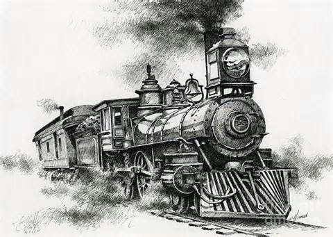Drawn railroad vintage train Old Spirit train images best