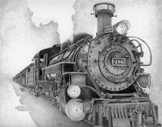 Drawn railroad vintage train Bookplates Vintage drawing print plan