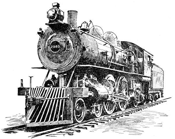 Drawn railroad vintage train Service Locomotive 22 Old Passenger