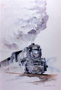 Drawn railroad watercolor · ArtLocomotiveTrain  print Steam