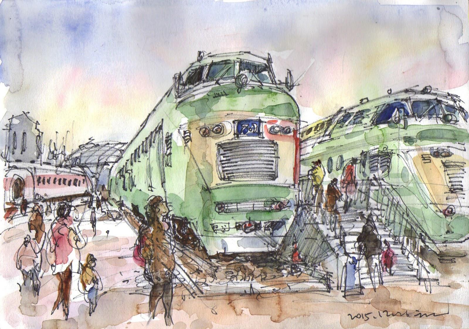 Drawn railroad watercolor Type Rail Urban at Museum