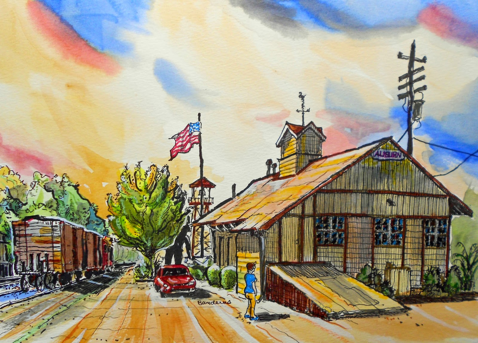 Drawn railroad watercolor Westbound Ink trains Depot Train