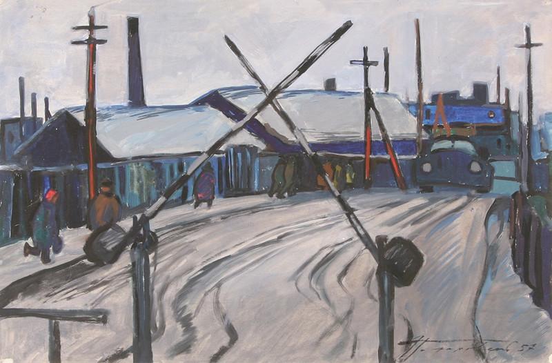 Drawn railroad watercolor Watercolor Crossing the Railroad on