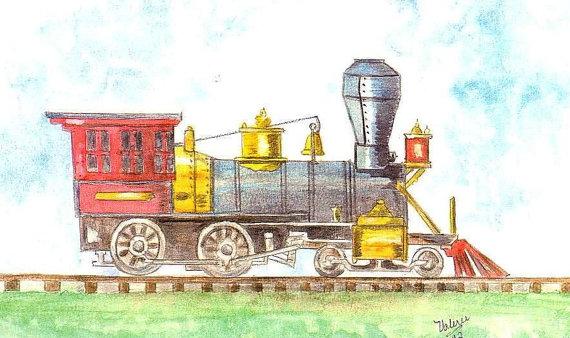 Drawn railroad watercolor For Locomotive Watercolor for Home