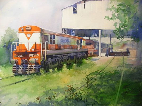 Drawn railroad watercolor Bijay 7 BISWAAL Pinterest on