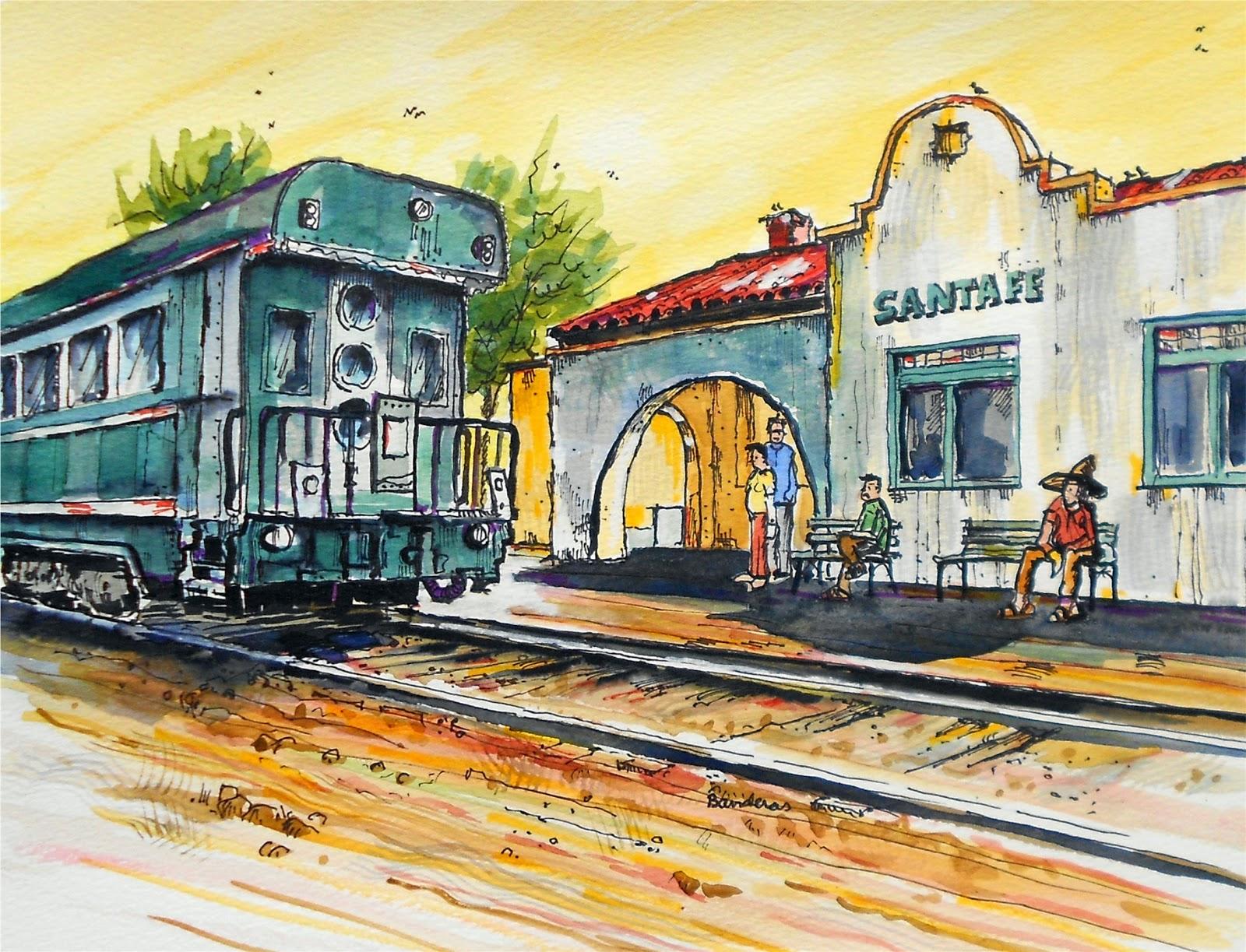 Drawn railroad watercolor Train a image late Fe