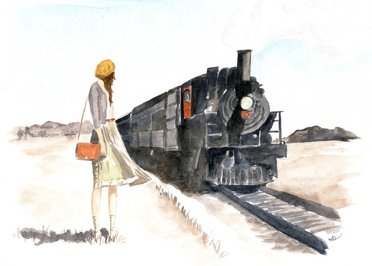 Drawn railroad watercolor Train DrawingIllustration car on 25+