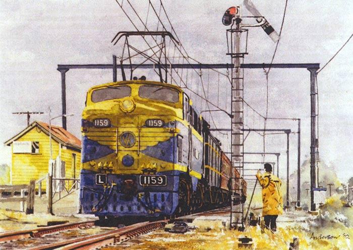 Drawn railroad watercolor Australia of Locomotives Art &