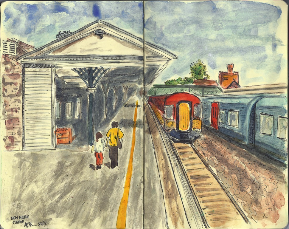 Drawn railroad watercolor Station New Creations Ayers Mike