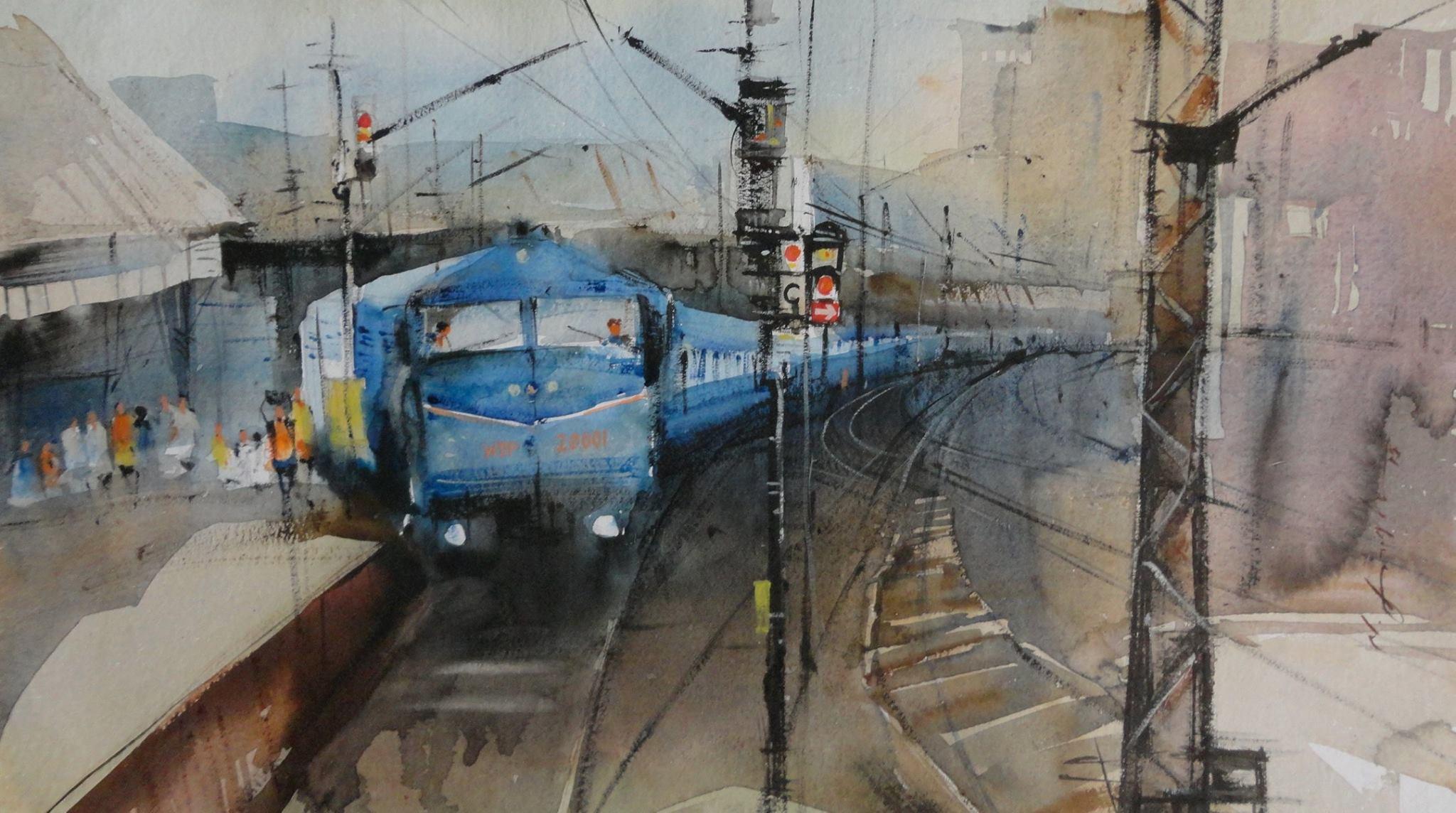 Drawn railroad watercolor Watercolor Indian train watercolor art