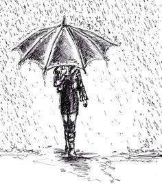 Drawn rain In rain drops rain drops