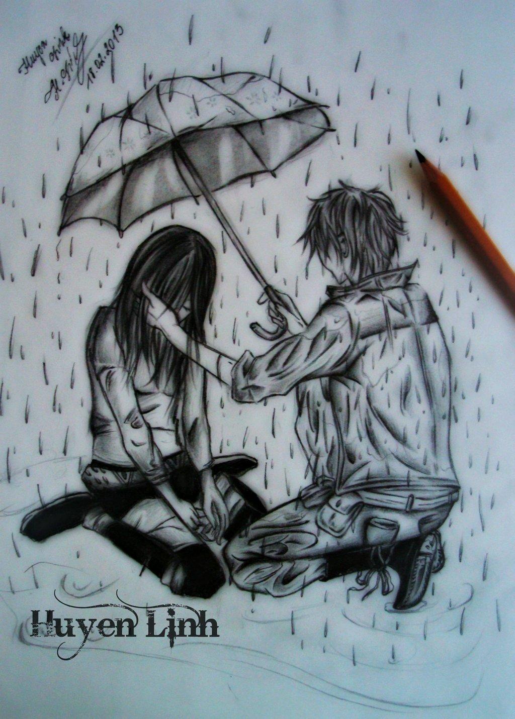 Drawn rain alone boy By Linh DeviantArt Linh Huyen
