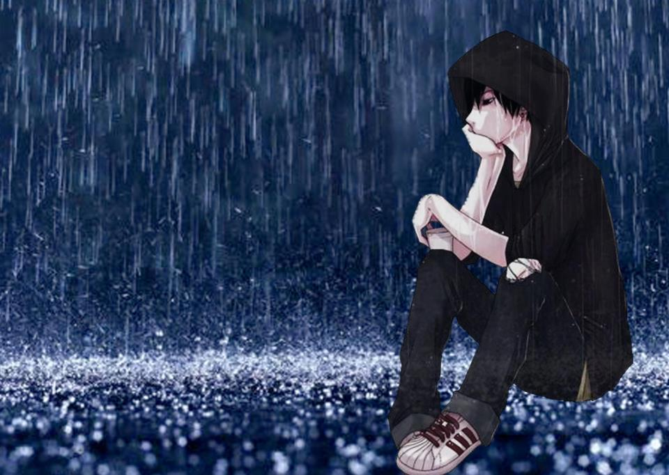 Drawn rain alone boy Him hug TIME a TO