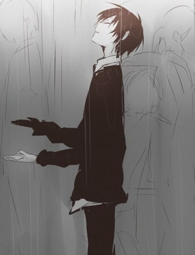 Drawn rain alone boy Pinterest best Anime 56 images