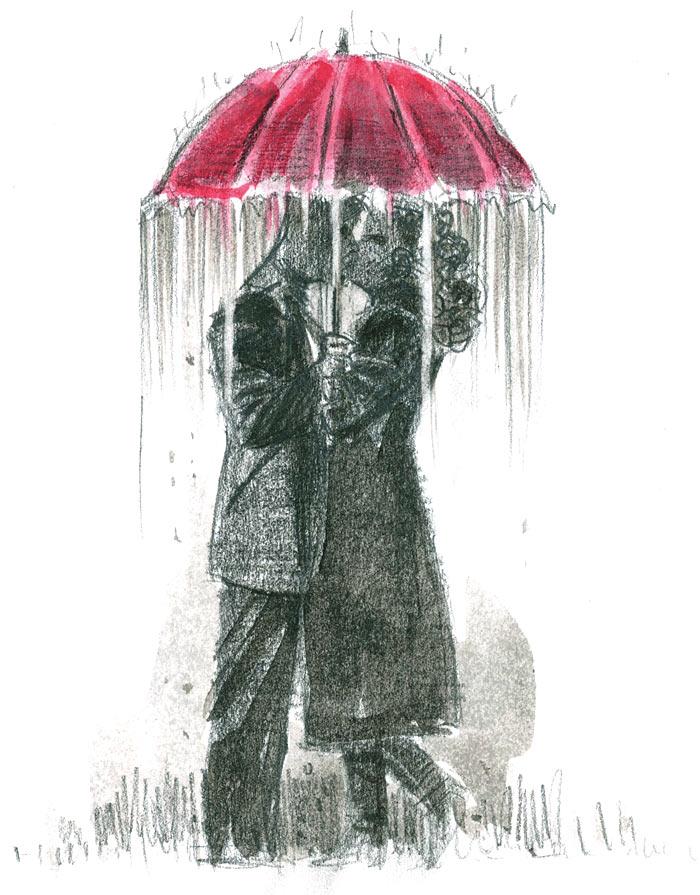 Drawn rain art Under umbrella red by by