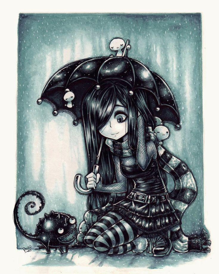 Drawn rain art Girl Parororo by deviantART Best