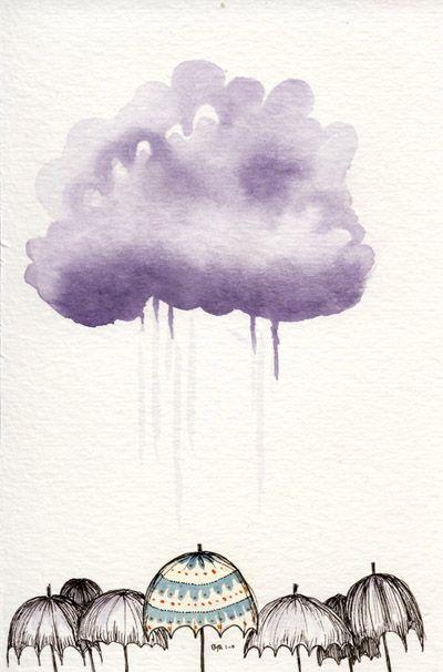 Drawn clouds rain 210 watercolor Clouds umbrella best